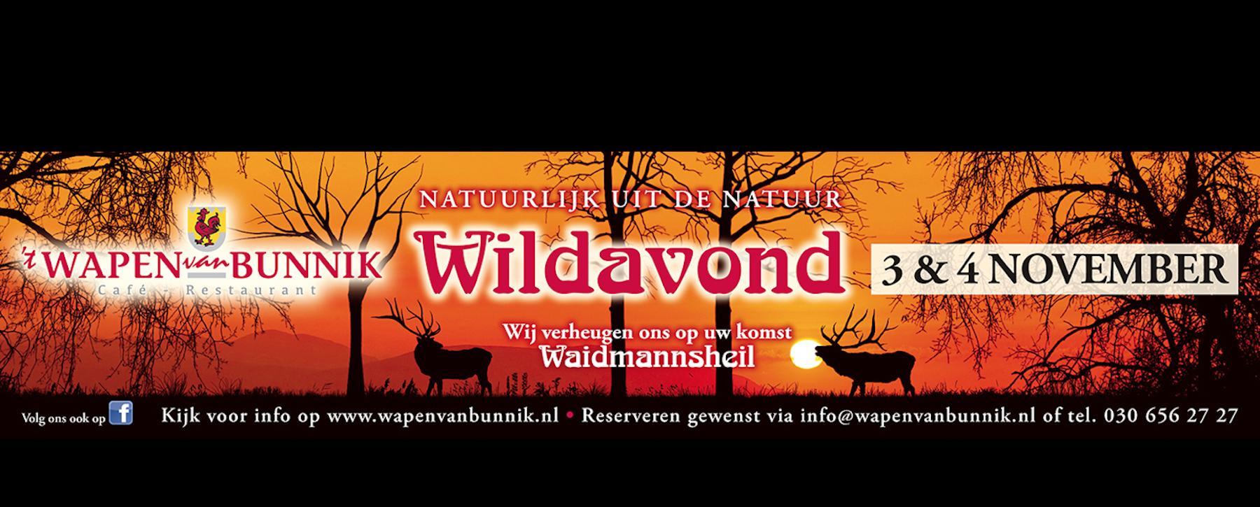 Wildavond 3 en 4 november - 't Wapen van Bunnik
